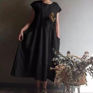 Cotton cap sleeve babydoll dress